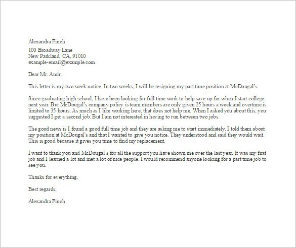 12+ Job Resignation Letter Template - Free Word, Excel, PDF, iPages