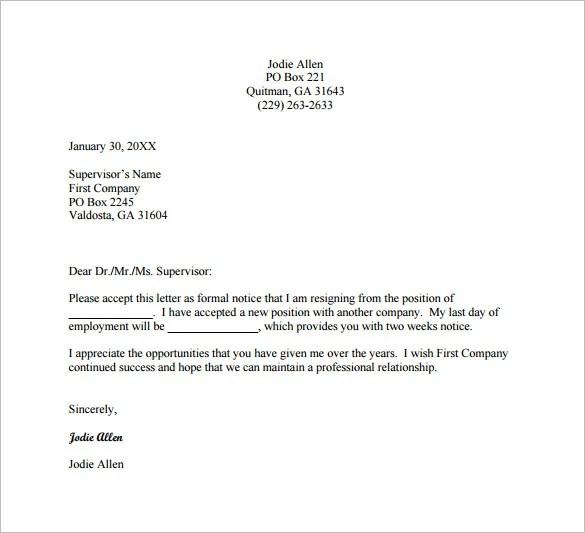 job quit letter - Onwebioinnovate - job resignation letter