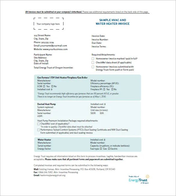 HVAC Invoice Templates \u2013 6+ Free Word, Excel, PDF Format Download