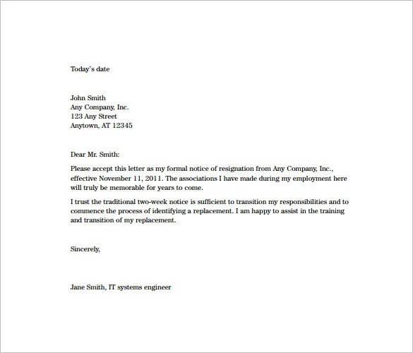 Two Weeks Notice Resignation Letter Templates \u2013 11+ Free Word, Excel - two week resignation letter sample