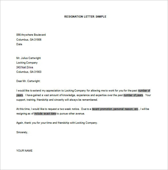 Resignation Letter Formats - 7+ Free Word, Excel, PDF Format - resume format for job in word