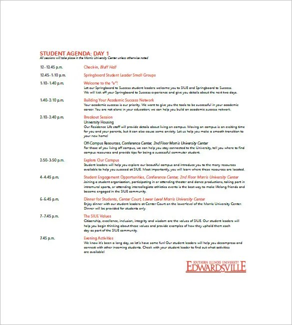 8+ Student Agenda Templates \u2013 Free Sample, Example, Format Do Free
