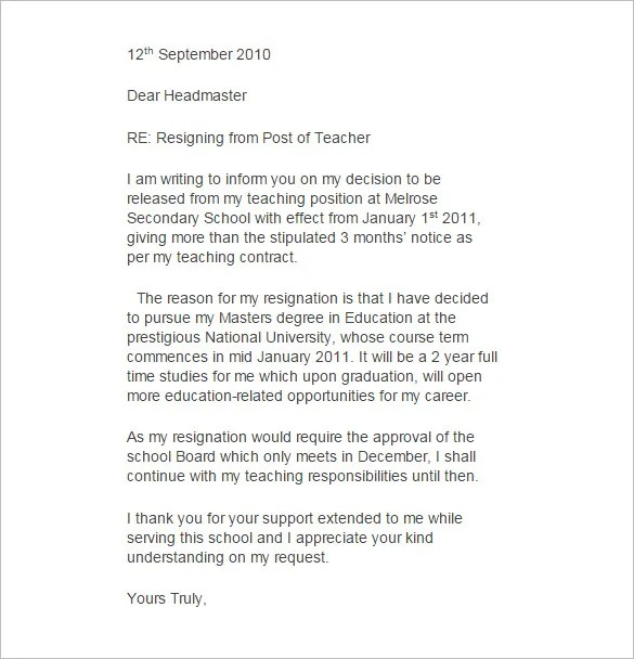 9+ Teacher Resignation Letter Template - Free Word, Excel, PDF