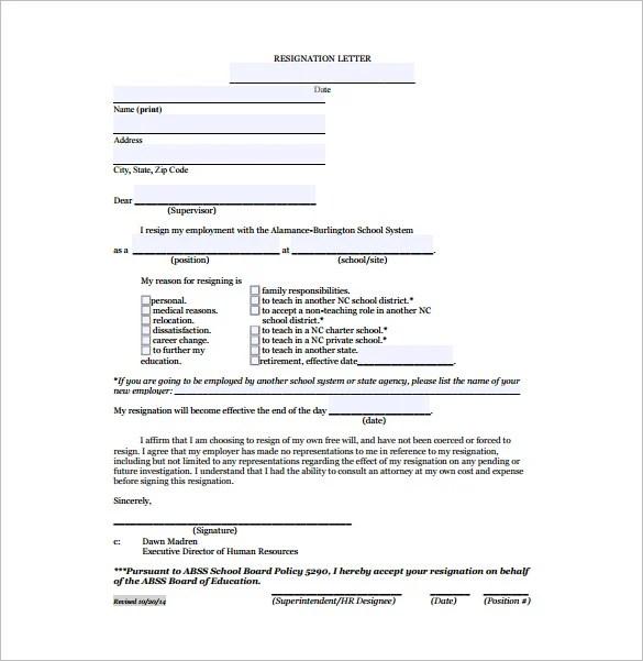 Teacher Resignation Letter Template- 9+ Free Word, Excel, PDF - teacher resignation letter