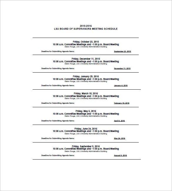 Sample Agenda Calendar Meeting Calendar Agenda 4+ Agenda Calendar - sample conference schedule template