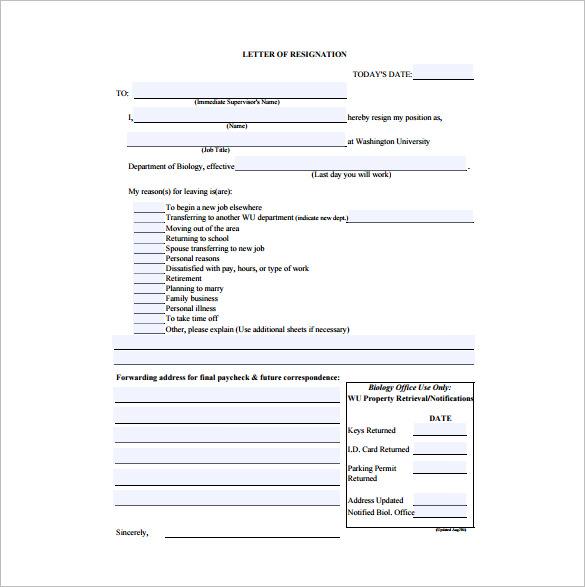 Immediate Resignation Letter Template u2013 7+ Free Word, Excel, PDF - immediate resignation letter