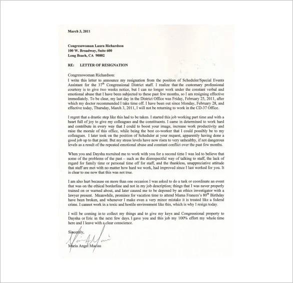 Lr Resignation Letter Sample Letter Resume 7 Immediate Resignation Letter Templates Free Sample