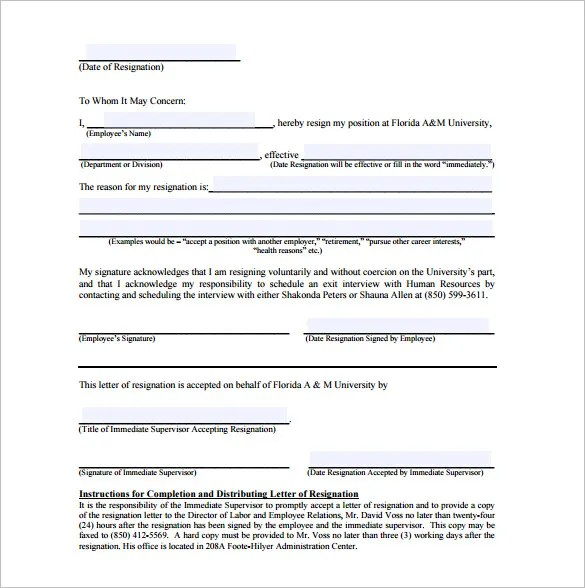 6+ Sample Immediate Resignation Letter Templates - PDF, DOC Free