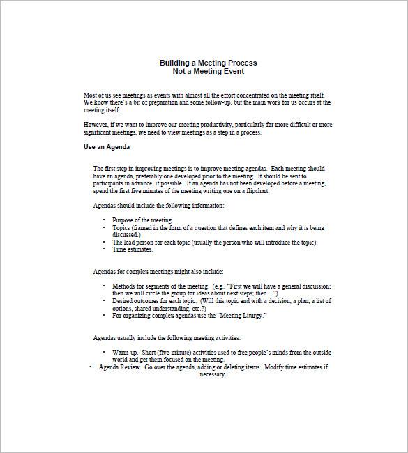 Agenda Planner Template \u2013 8+ Free Word, Excel, PDF Format Download