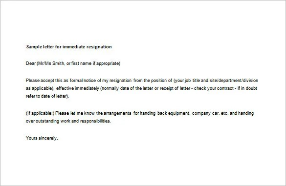 7+ Sample Immediate Resignation Letter Templates - PDF, DOC Free