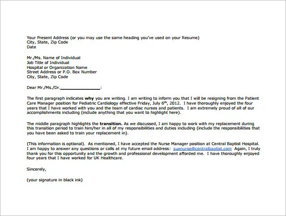 8+ Nursing Resignation Letter Templates - Free Sample, Example