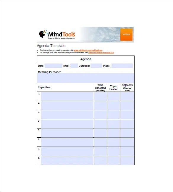 Simple Agenda Template - 8+ Free Word, Excel, PDF Format Download