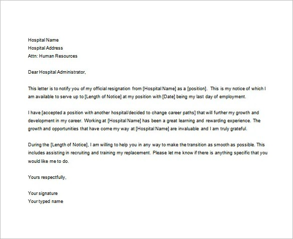 7+ Sample Nursing Resignation Letter Templates - PDF, DOC Free