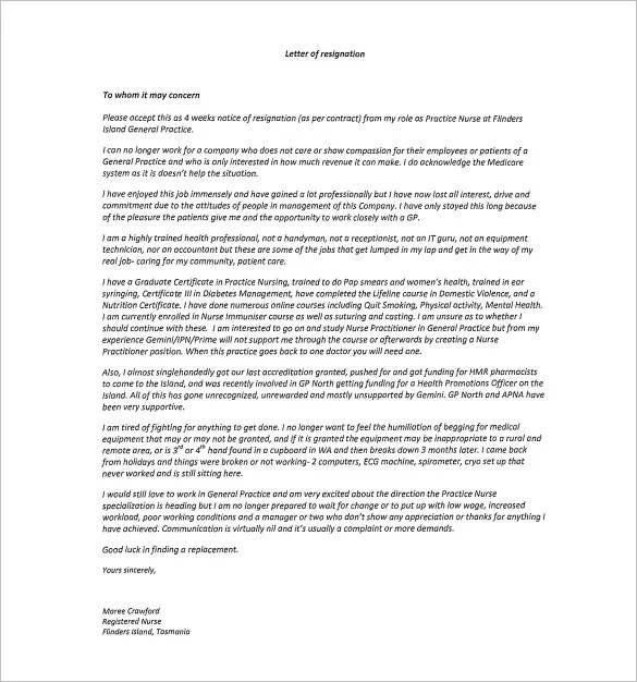 Nursing resignation letter colbro 7 sample nursing resignation letter templates pdf expocarfo Image collections