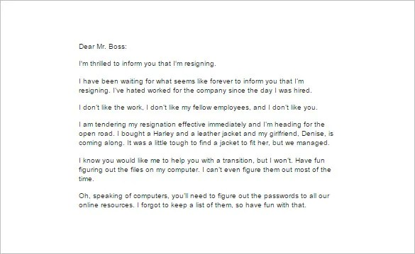 5+ Funny Resignation Letter Templates - Free Sample, Example, Format - funny resignation letters