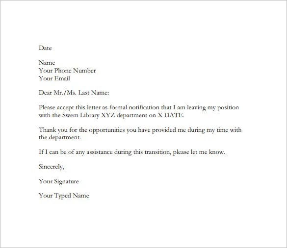19+ Example of Resignation Letter Templates u2013 Free Sample, Example - resignationletter