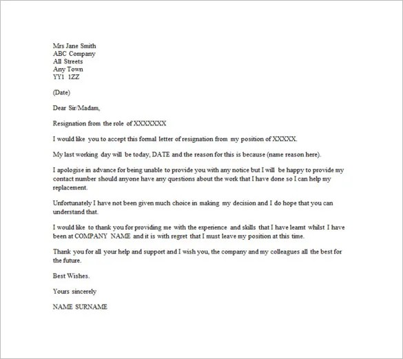 Email Resignation Letter Template \u2013 10+ Free Word, Excel, PDF Format