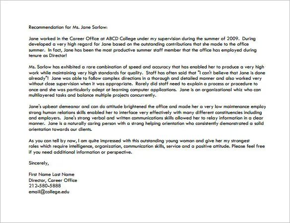 example letter of recommendation for grad school
