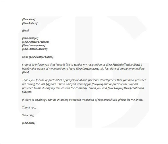 Resign Letter Details 8+ Resignation Letter Templates - Free - sample resignation letters