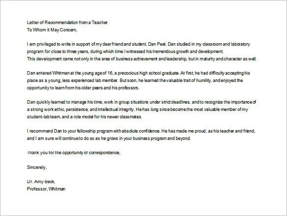 letter of recommendation for elementary students