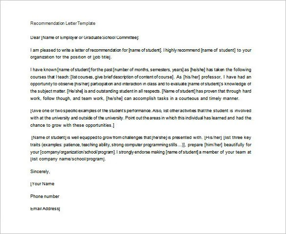 Letter of Recommendation for Teacher \u2013 12+ Free Word, Excel, PDF
