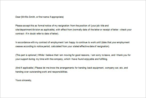 Notice of Resignation Letter Template \u2013 10+ Free Word, Excel, PDF