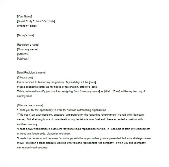 Notice of Resignation Letter Template u2013 10+ Free Word, Excel, PDF - resignation letters no notice