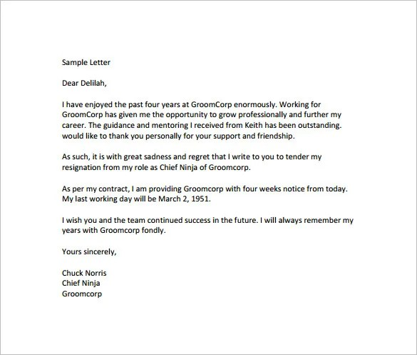 11+ Notice of Resignation Letter Templates u2013 Free Sample, Example - sample final notice letter