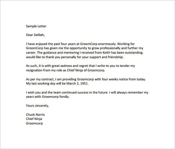 11+ Notice of Resignation Letter Templates u2013 Free Sample, Example - simple resignation letter example