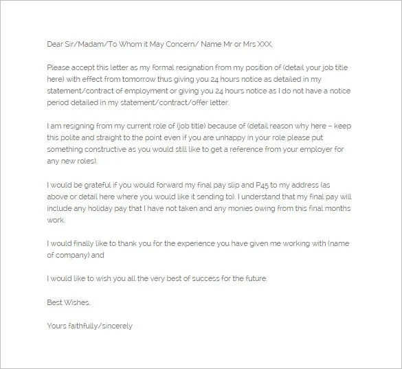 Notice of Resignation Letter Template - 9+ Free Word, Excel, PDF - notice of resignation template