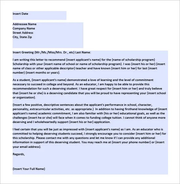 Letter of Recommendation for Scholarship \u2013 9+ Free Word, Excel, PDF