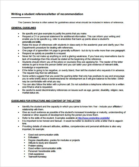 Letter of Recommendation for Employment \u2013 9+ Free Word, Excel, PDF