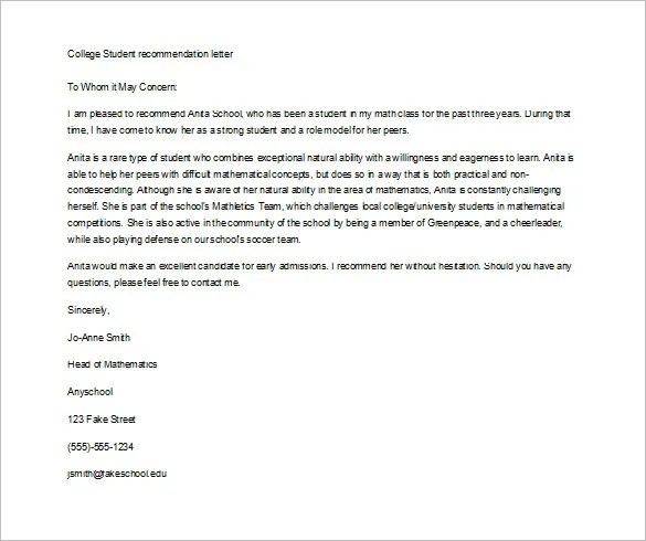 12+ Letter of Recommendation for Student Templates - PDF, DOC Free - college letters of recommendation format