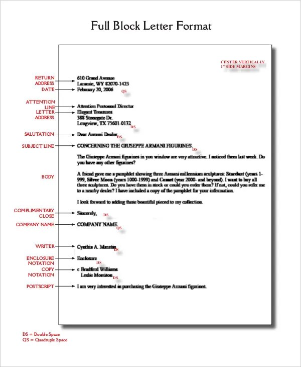 Block Letter Format Template - 8+ Free WOrd, PDF Documents Download - the format of a letter