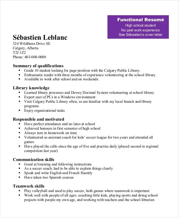 Examples Of Functional Resumes For High School Students - High