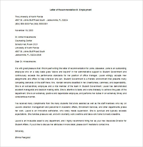 11+ Job Recommendation Letters \u2013 Free Sample, Example Format - job reccomendation