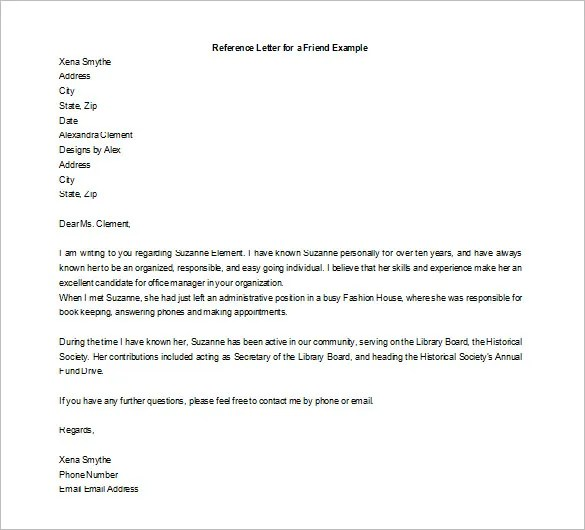 friend letter of recommendation - Minimfagency