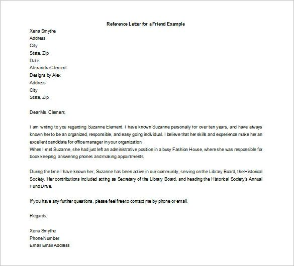 how to write a personal recommendation letter for a friend