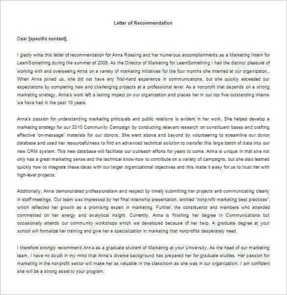 Recommendation Letter for Internship \u2013 8+ Free Word, Excel, PDF
