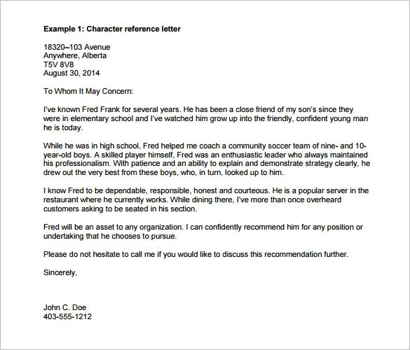 sample character recommendation letter - Ozilalmanoof - character reference letter format