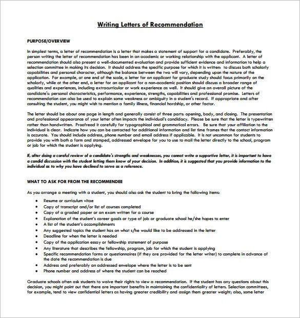 8+ Letter of Recommendation for Student u2013 Free Sample, Example - formats for letters of recommendation