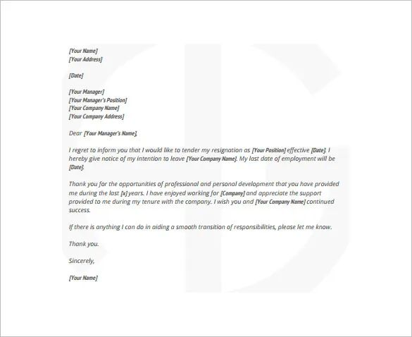 sample two weeks notice letter