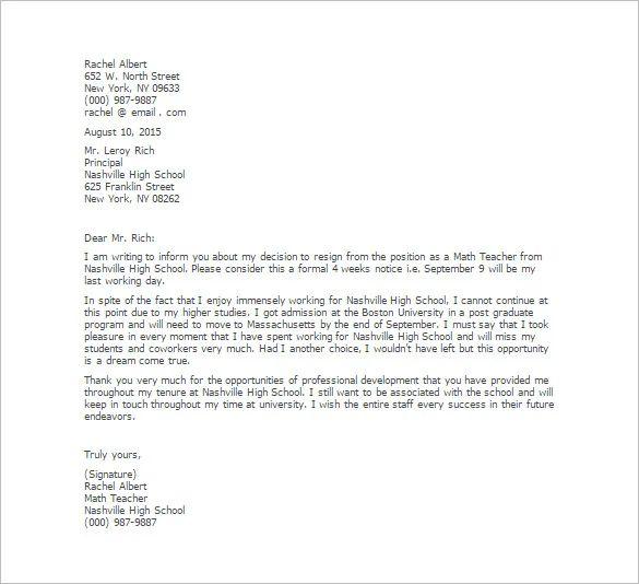resignation letter sample school teacher
