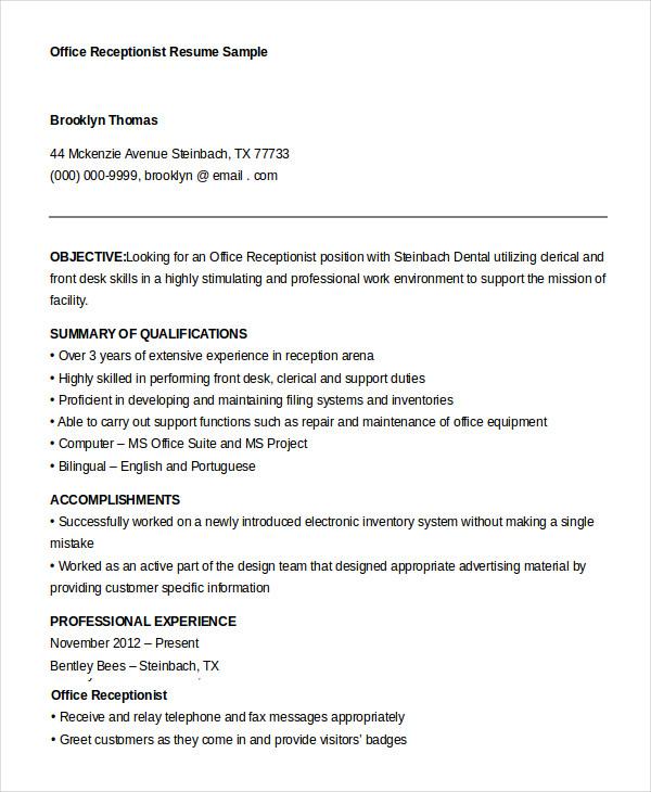 10+ Receptionist Resume Templates - PDF, DOC Free  Premium Templates - samples of receptionist resumes