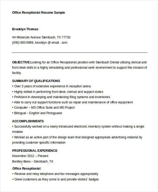 receptionist resume summary examples