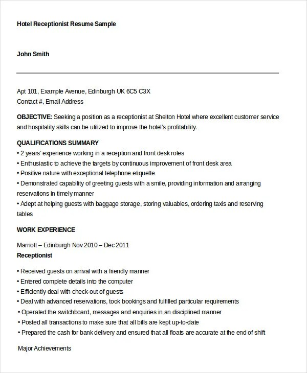 10+ Receptionist Resume Templates - PDF, DOC Free  Premium Templates - resume templates for receptionist position