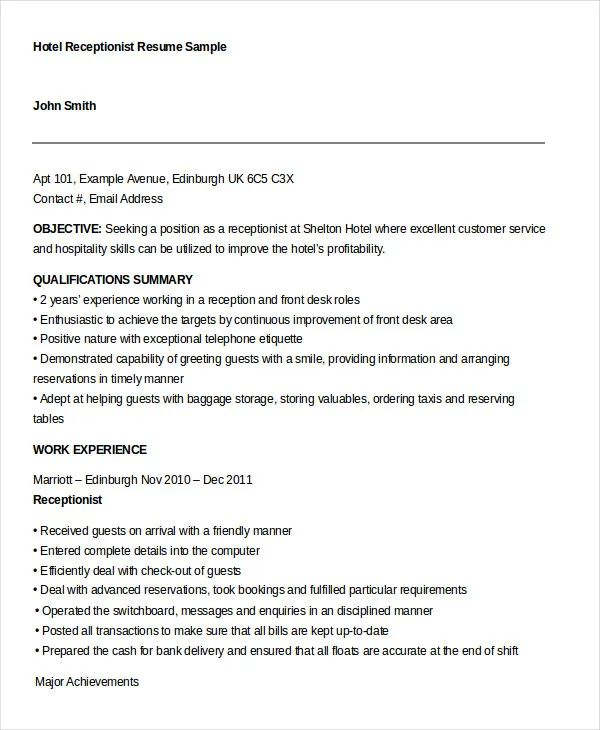 resume hotel receptionist examples