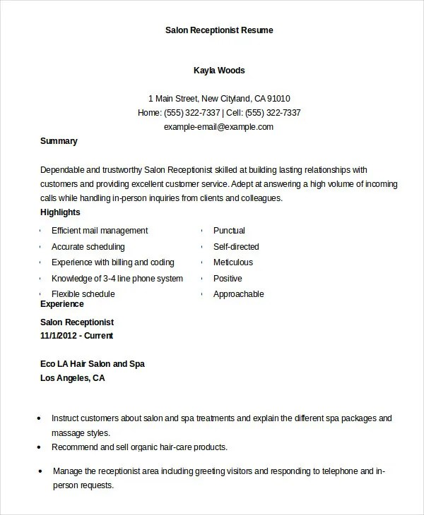 resume for salon receptionist - Ozilalmanoof - salon receptionist resume