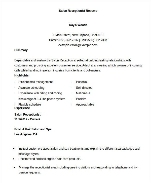 Receptionist Resume Templates 7+ Receptionist Resume Templates - salon resume