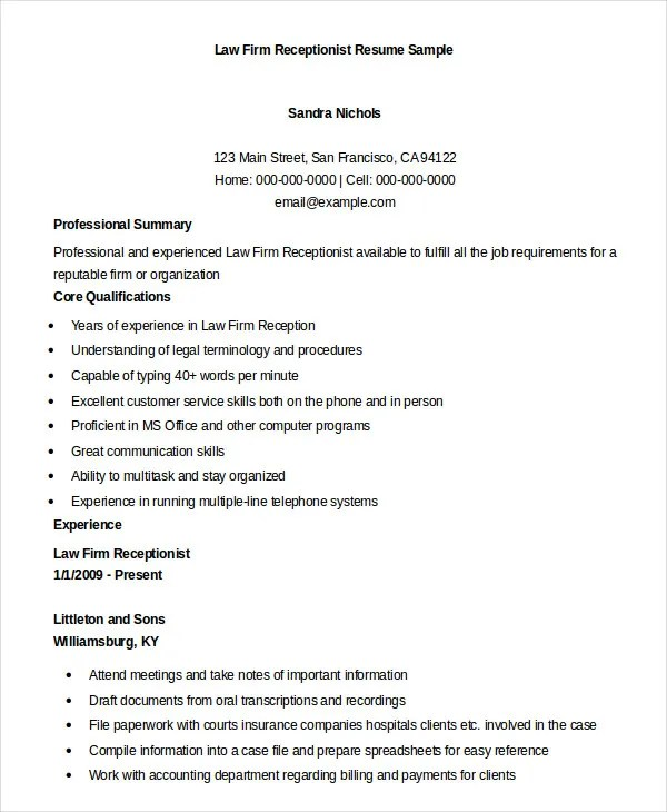 examples of receptionist resumes - Boatjeremyeaton - resume template for receptionist